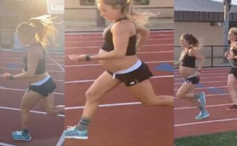 woman power shows when a nine month pregnant woman run one point six kilometre in five minutes