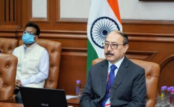 New Delhi: Foreign Secretary Harsh Vardhan Shringla h0lds India-Myanmar Foreign Office Consultations with Myanmar Permanent Secretary Soe Han through video conferencing from New Delhi on Oct 1, 2020. (Photo: IANS/MEA)